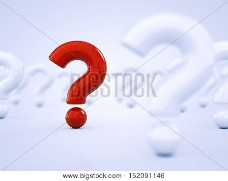 Red question mark standing out amid white question marks , Think , 3d illustration