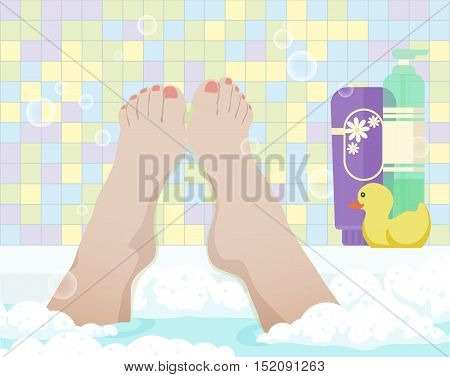 Female feet in bathroom, color vector illustration. Woman take a bath with foam, first-person view.
