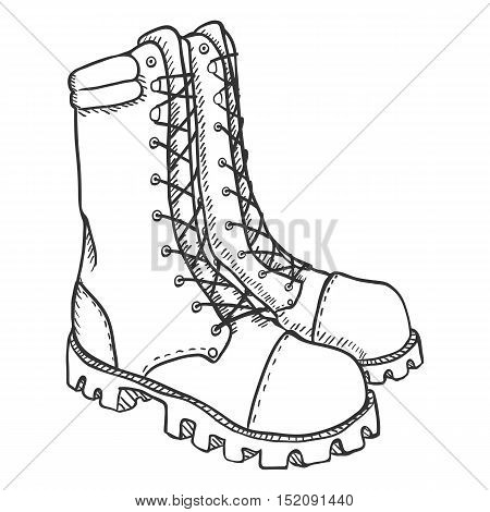 Vector Sketch Illustration - High Leather Army Boots
