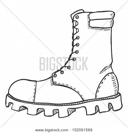 Vector Sketch Illustration - High Leather Army Boots. Side View