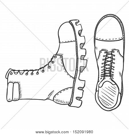 Vector Sketch Illustration - High Leather Army Boots. Side And Top View