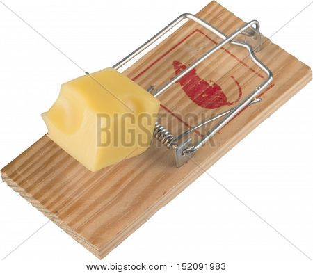 Mouse Trap baited with a Piece of Cheese, Isolated on White