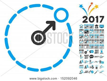 Round Area Border pictograph with bonus 2017 new year symbols. Vector illustration style is flat iconic symbols, blue and gray colors, white background.