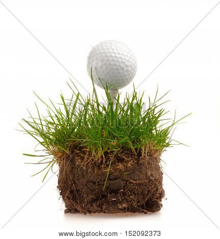 golf ball with a golf tee on a patch of grass