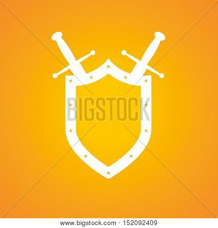 Shield and swords in flat design. Shield and sword icon. Vector illustration.