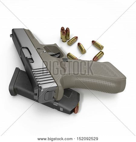 Gun and bullets on a white background. 3D illustration