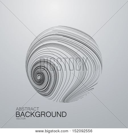 Abstract 3D sphere with swirled curl stripes. Vector vintage illustration of swirled and curled stripes background. Marble or acrylic texture imitation. Cool and Swirly background