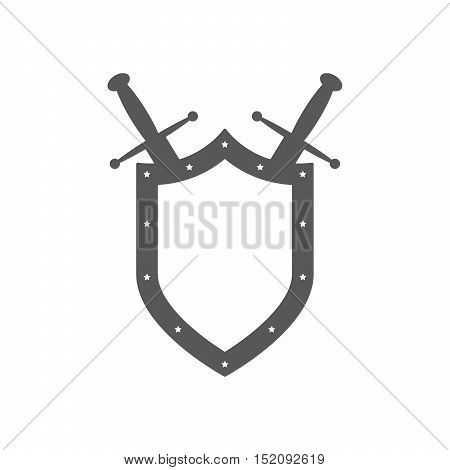 Black shield and swords in flat design. Shield and sword icon. Vector illustration.