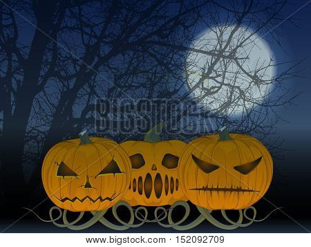 party Halloween. vector illustration. the old poster. three angry pumpkins. the moon and tree. magic mist. huge moon