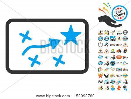 Route Plan pictograph with bonus 2017 new year clip art. Vector illustration style is flat iconic symbols, blue and gray colors, white background.