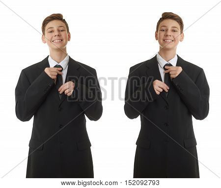 Set of cute teenager boy in back business suit correcting tie over white isolated background, half body, future career concept