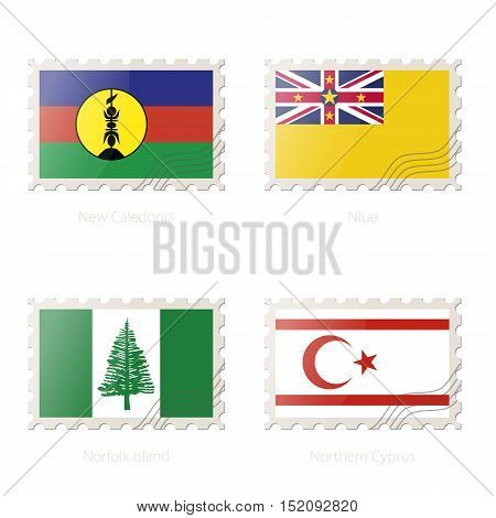 Postage stamp with the image of New Caledonia Niue Norfolk Island Northern Cyprus flag. Vector Illustration.