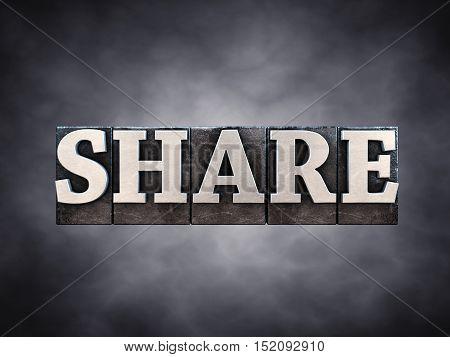 Share letterpress typesetting on dark background , 3d illustration