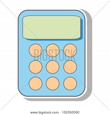 calculator device with keyboard over white background. vector illustration