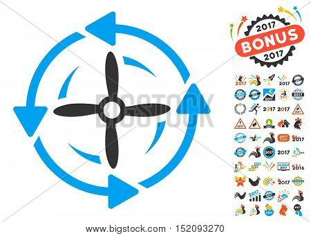 Screw Rotation pictograph with bonus 2017 new year design elements. Vector illustration style is flat iconic symbols, blue and gray colors, white background.