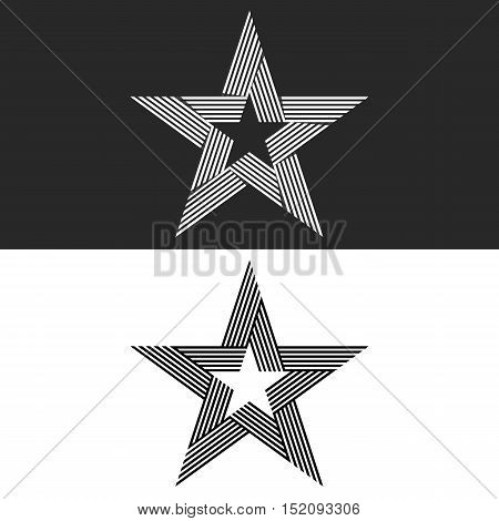 Star Logo Abstract Hipster Monogram, Set Thin Line Black And White Brand Icon, Mockup Print T-shirt