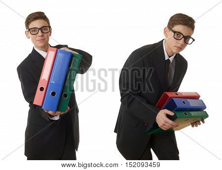 Set of cute teenager boy in back business suit with a pile of folders over white isolated background, half body, future career concept