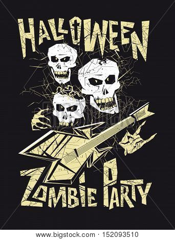The layout of the Billboard, the poster, flyers for Halloween Zombie party or a music concert with skulls.