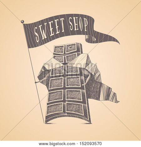 Chocolate shop sweets store vector logo icon symbol emblem. Cute hand drawn funny graphic design element illustration with chocolate for menu sweet shop decoration confectionery tshirt poster