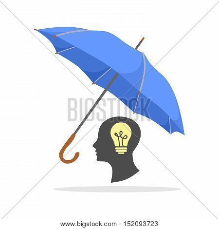 the illustration with the umbrella and idea.