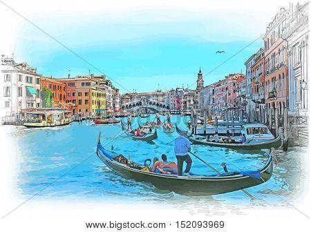 Venice - Grand Canal. View of the Rialto Bridge. Color drawing