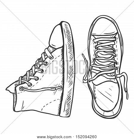 Vector Sketch Illustration - Pair Of High Casual Gumshoes. Top And Side View