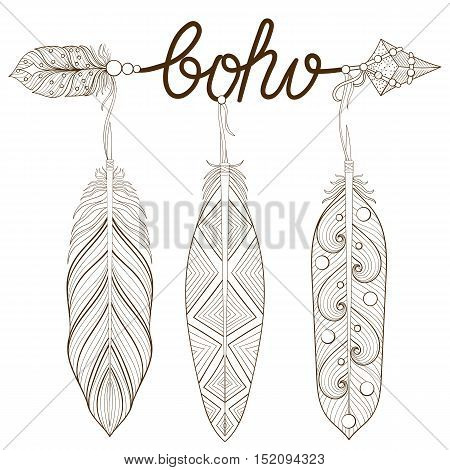 Bohemian Arrow, Hand drawn Amulet Boho with henna feathers. Decorative Arrows for adult coloring page, art therapy, ethnic patterned t-shirt print. Boho chic style. Doodle Illustration, tattoo design.