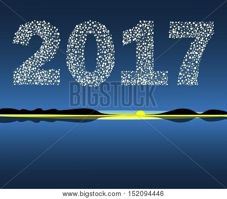 Happy New Year 2017 starburst dawn. Christmas vector illustration background starry sky .