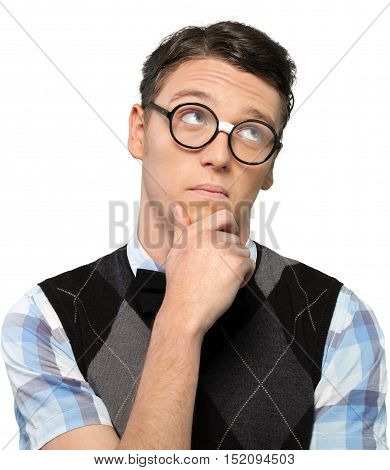 Portrait of Young Thinking Nerd with Hand on Chin, Isolated