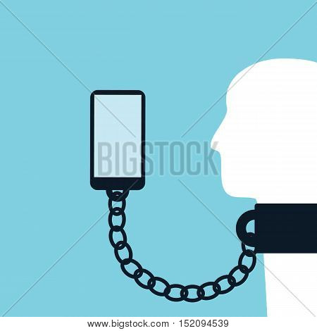 Smartphone technology or social networks addiction vector concept with cellphone chain to person neck. Eps10 vector illustration.