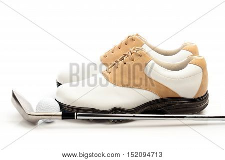 Pair of Golf Shoes with Ball and Club