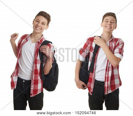 Set of cute teenager boy in red checkered shirt putting school bag on over white isolated background, half body, as school, education concept