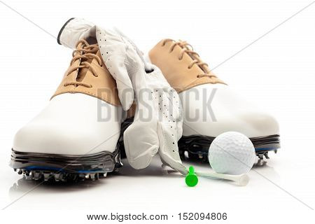 Pair of Golf Shoes with Glove, Ball and Tees