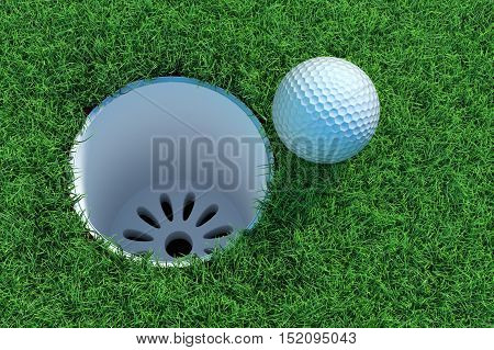 Golf ball on the green lawn. 3D illustration