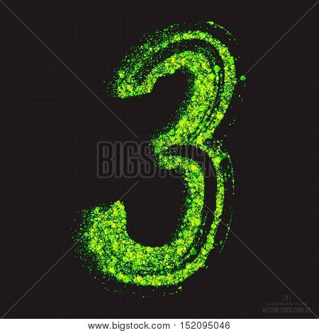 Vector grunge toxic font 001. Number 3. Abstract acid scatter glowing bright green color particles background. Radioactive waste. Zombie apocalypse. Grungy shape. Hand made design element