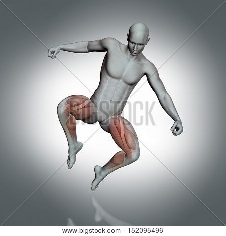 3D render of a male medical figure with partial muscle map in jump pose