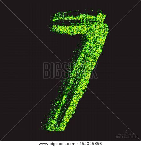 Vector grunge toxic font 001. Number 7. Abstract acid scatter glowing bright green color particles background. Radioactive waste. Zombie apocalypse. Grungy shape. Hand made design element