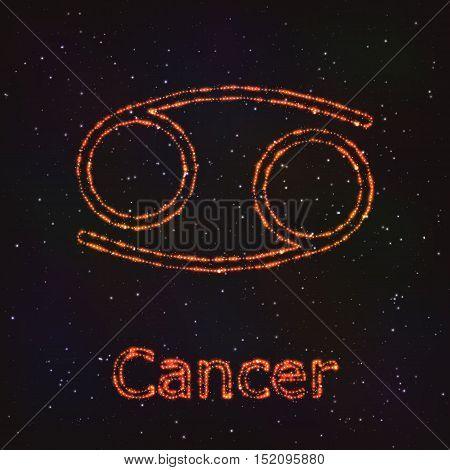 Astrology Shining Symbol. Horoscope Sign. Zodiac Cancer.
