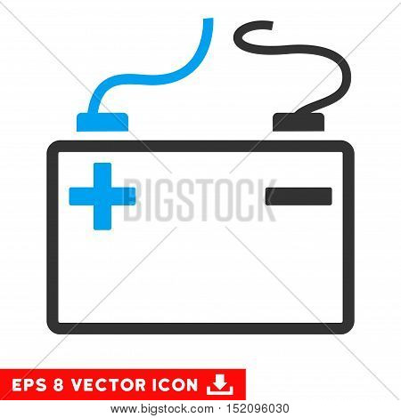 Accumulator EPS vector pictogram. Illustration style is flat iconic bicolor blue and gray symbol on white background.