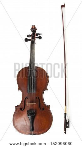 Front View of a Violin with Bow, Isolated on White