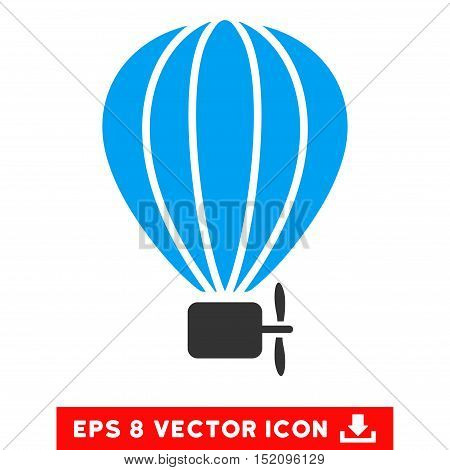 Aerostat Balloon EPS vector icon. Illustration style is flat iconic bicolor blue and gray symbol on white background.