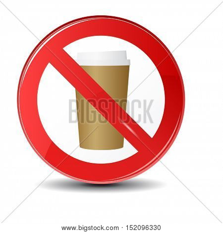 Prohibition sign icon.No drink hot coffee or tea. Vector illustration with a steaming cup