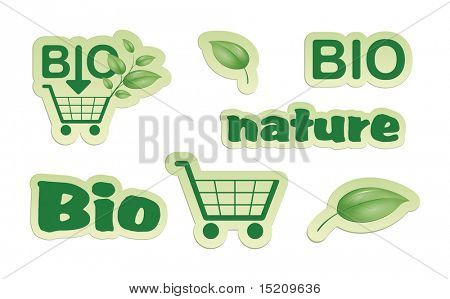 A set of green bio nature shopping icons