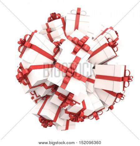 3D rendering of a group of white gift boxes with red bows on a neutral background