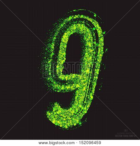 Vector grunge toxic font 001. Number 9. Abstract acid scatter glowing bright green color particles background. Radioactive waste. Zombie apocalypse. Grungy shape. Hand made design element