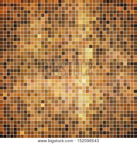 abstract vector square pixel mosaic background - brown