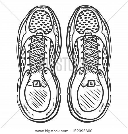 Vector Sketch Illustration - Pair Of Running Shoes. Top View