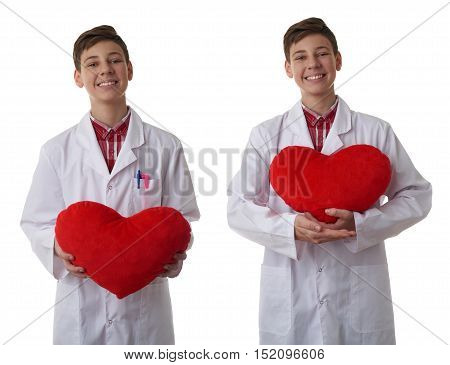 Set of cute teenager boy wearing white lab medic coat with red plush heart over white isolated background as science, medicine, healthcare concept