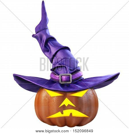Halloween pumpkin and the witch hat. Isolated on white background. 3D illustration.