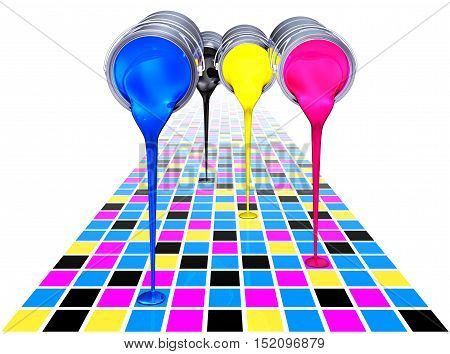 high resolution 3D rendering of a cmyk background